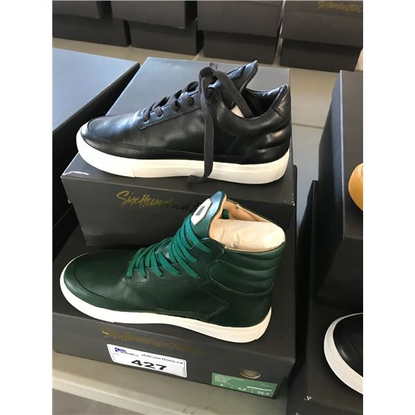 2 SIX HUNDRED FOUR LEATHER UNISEX SHOES SIZE 4 MEN'S IN SMOOTH IVY & SMOOTH RUNWAY $300 AND