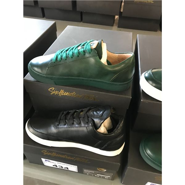 2 SIX HUNDRED FOUR LEATHER UNISEX SHOES SIZE 5 MEN'S IN SMOOTH IVY & SMOOTH RUNWAY $300 RETAIL