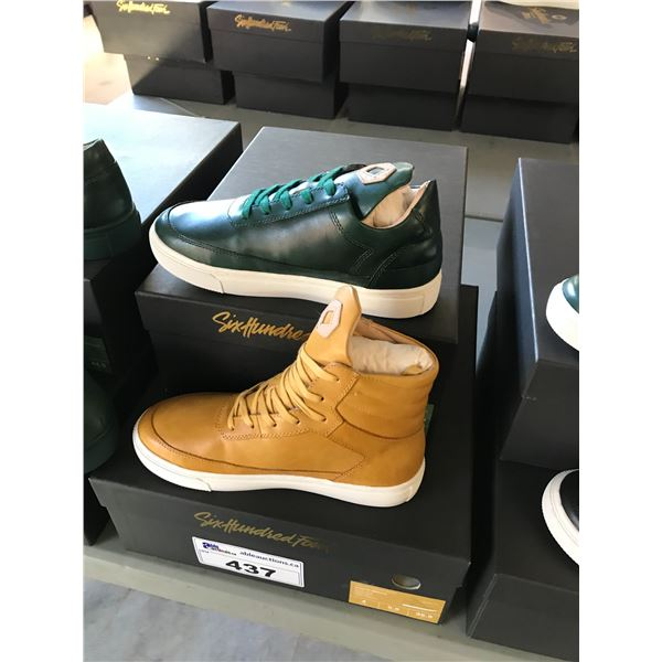 2 SIX HUNDRED FOUR LEATHER UNISEX SHOES SIZE 4 MEN'S IN SMOOTH MIMOSA & SMOOTH IVY $300 AND