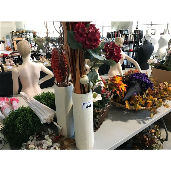 LOT OF MISC HOLIDAY DECOR FLOWER ARRANGEMENTS AND MISC FLOWERS AND GREENERY