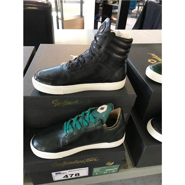 2 SIX HUNDRED FOUR LEATHER UNISEX SHOES SIZE 5 MEN'S IN SMOOTH IVY & SMOOTH RUNWAY $300 AND