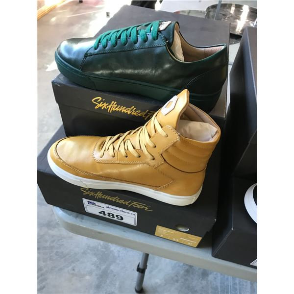 2 SIX HUNDRED FOUR LEATHER UNISEX SHOES SIZE 5 MEN'S IN SMOOTH MIMOSA & SMOOTH IVY $300 AND