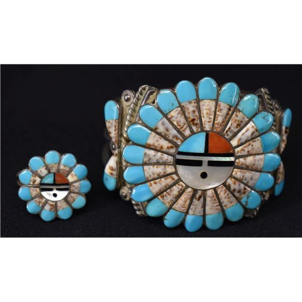 ZUNI INDIAN BRACELET AND RING (MORRIS & SADIE LAAHTY)