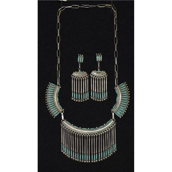 ZUNI INDIAN NECKLACE AND EARRINGS ( BRYANT WAATSA JR)