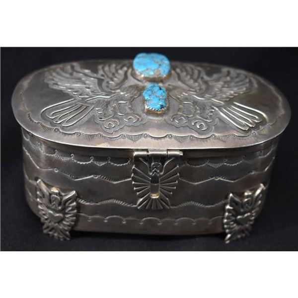 NAVAJO INDIAN SILVER BOX (WILFRED CHEE)