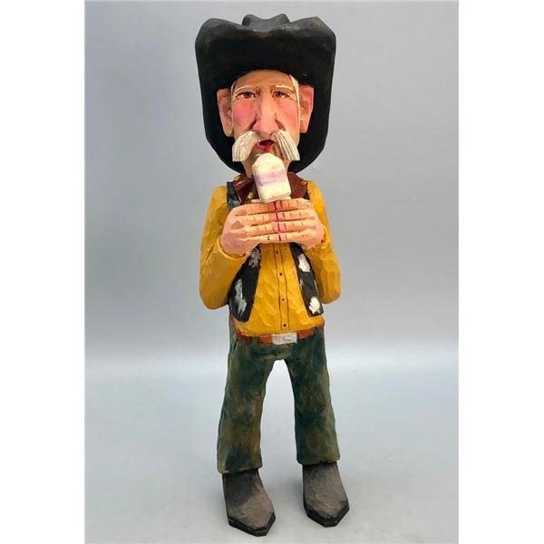 Whimsical Cowboy Wood Carving Statue- J. White Eagle