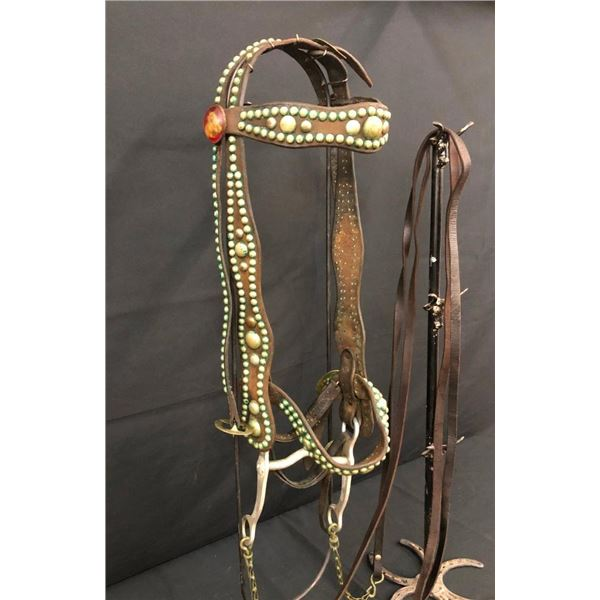 Old Spotted Leather Cowboy Bridle with Crockett Bit