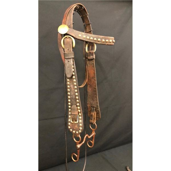 Old Spotted Leather Cowboy Bridle with North & Judd Bit