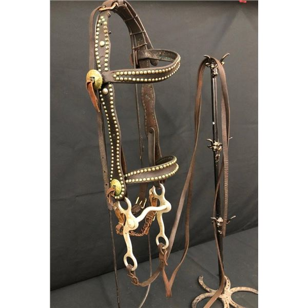 Old Spotted Leather Heiser Bridle with Crockett Bit