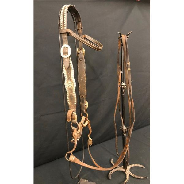 Old Spotted Leather Cowboy Headstall with Marked Bit