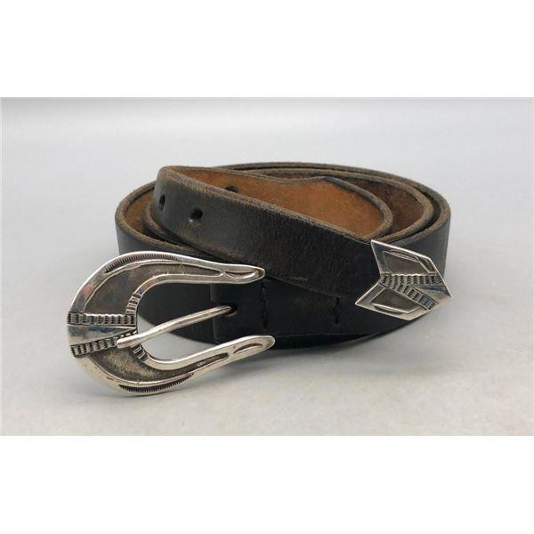 Sterling Silver Belt Buckle Set by Harry Morgan