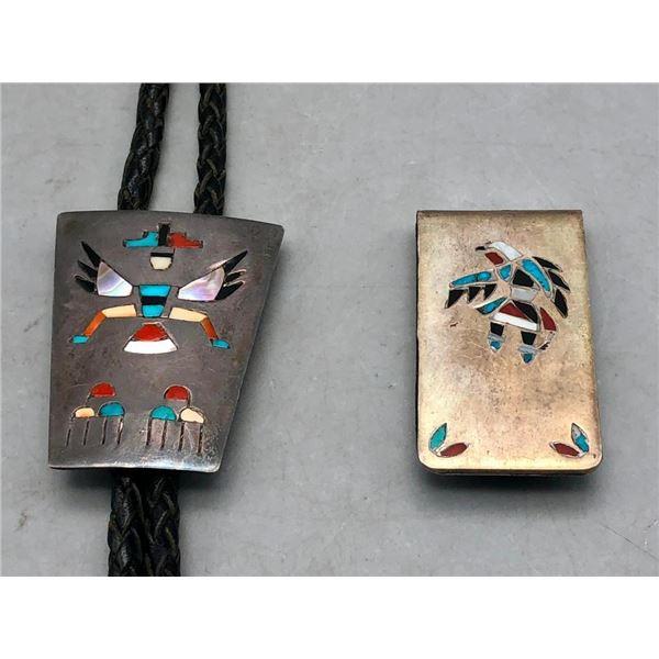 Vintage Zuni Inlay Bolo Tie and Money Clip