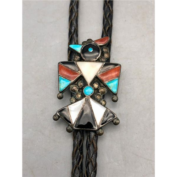 Great Vintage Zuni Thunderbird Bolo Tie with Matching Tips