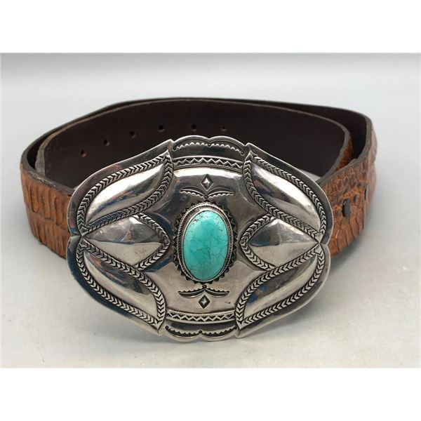 Sterling Silver and Turquoise Belt Buckle with Alligator Leather Belt