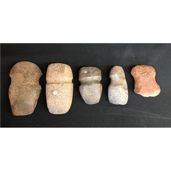 Five Prehistoric Stones Axes/Tools