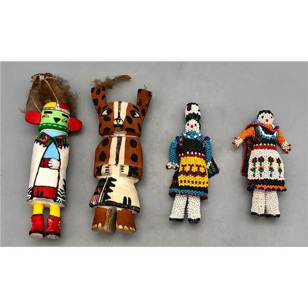 Two Zuni Beaded Figures and Two Hopi Kachinas