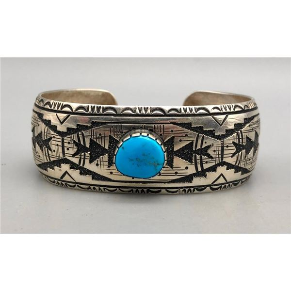 Turquoise and Sterling Silver Overlay Bracelet