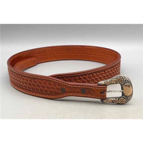 Martin Saddlery Leather Belt with Sterling Buckle