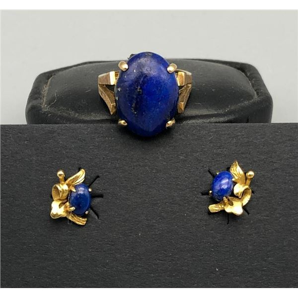 14k Gold and Lapis Ring and Earrings
