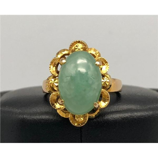 Lovely 18k Gold and Jade Ring
