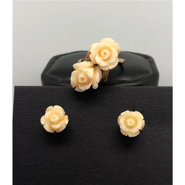 Charming 18k Carved White Coral Roses Ring and Earrings