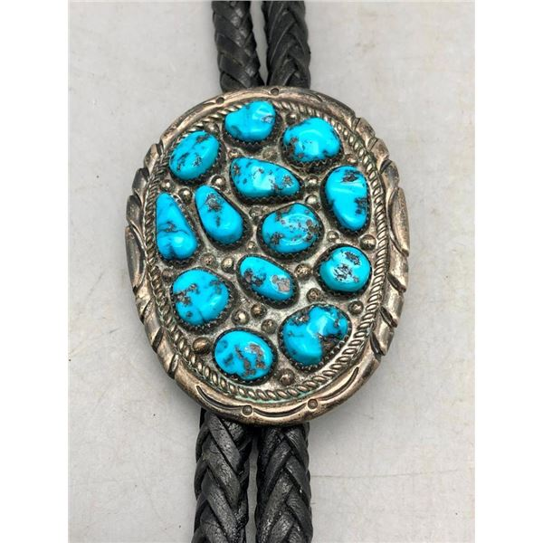 Turquoise Cluster Bolo Tie by Wilson Padilla