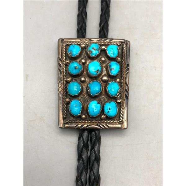 Vintage Turquoise Cluster Bolo Tie