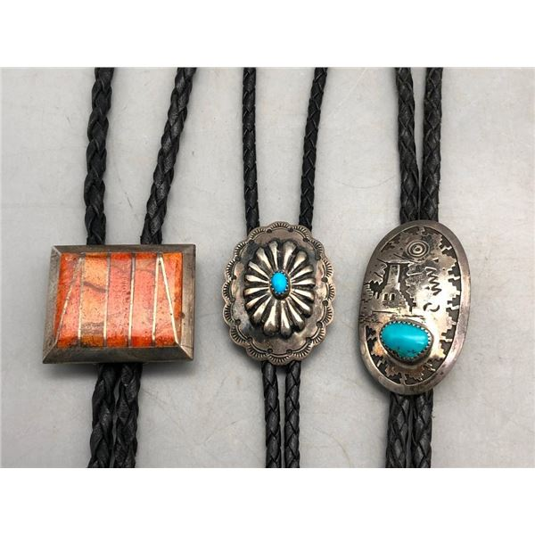 Group of Three Sterling Silver Bolos Ties