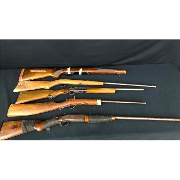 Group of Four Miscellaneous Guns and a Stock