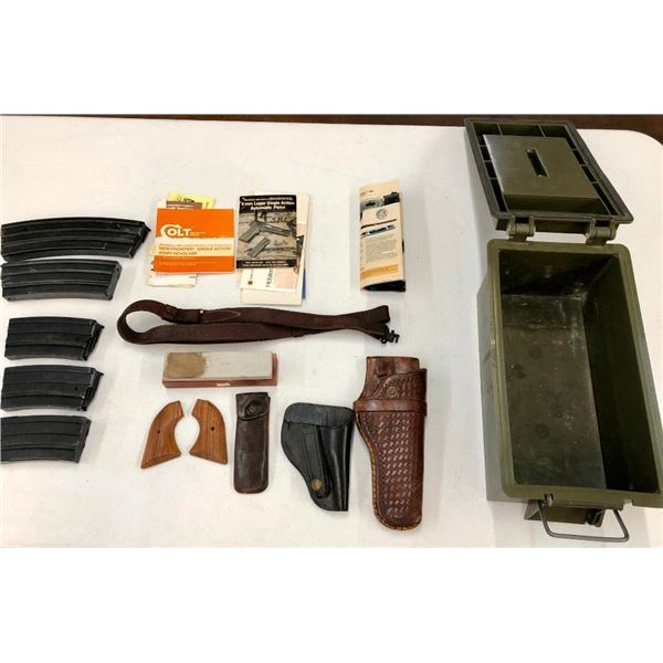 Miscellaneous Ammo Box, Leather Holsters, Mini 14 Mags