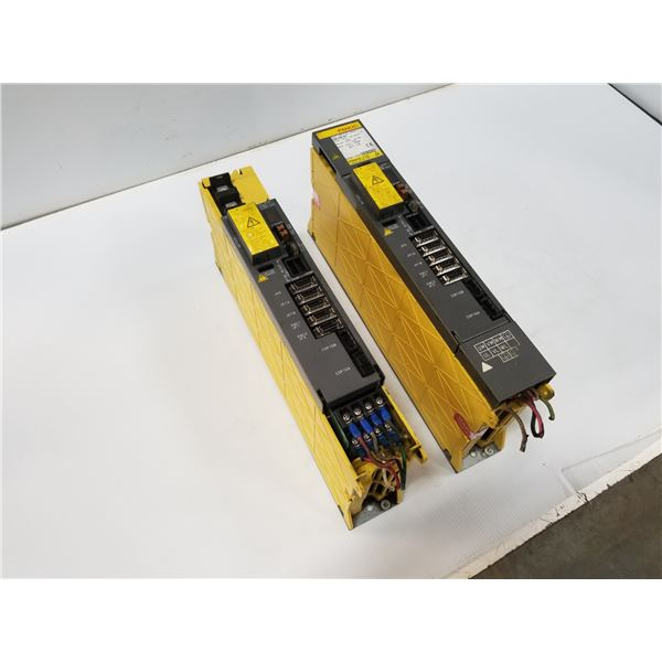 (2) FANUC A06B-6096-H201 SERVO AMPLIFER MODULE (MISSING COVERS/PART#)*SEE PICS FOR DETAILS*