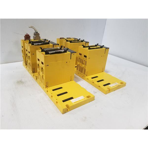 (2) FANUC A03B-0807-C001 10 SLOT MODULE BASE W/ MODULES *SEE PICS FOR PART #S*