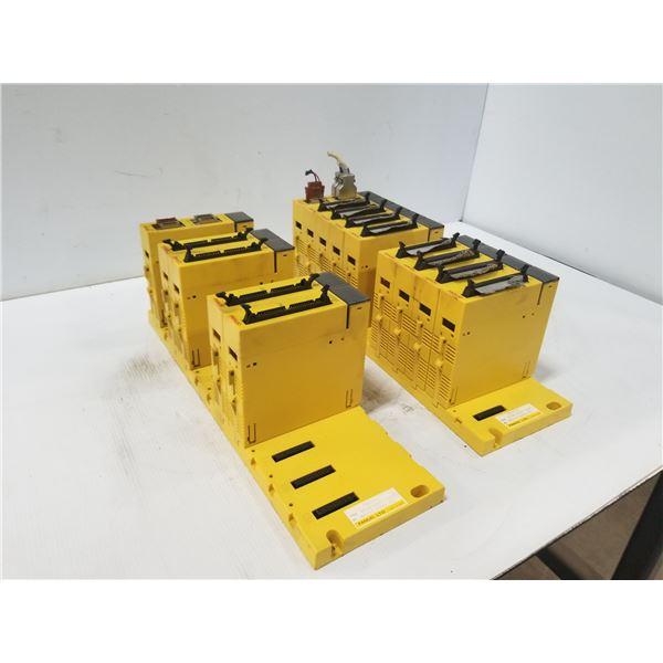 LOT OF FANUC A03B-0807-C001 10 SLOT MODULE BASE W/ MODULES *SEE PICS FOR DETAILS*