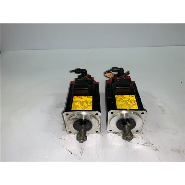 (2) - FANUC A06B-0202-B605 AC SERVO MOTORS WITH A860-2014-T301 PULSE CODERS