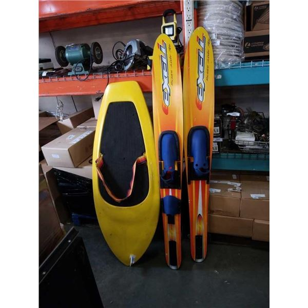 HYDRO SLIDE WATER TOY AND PAIR OF EXELL PRECISION WATER SKIS