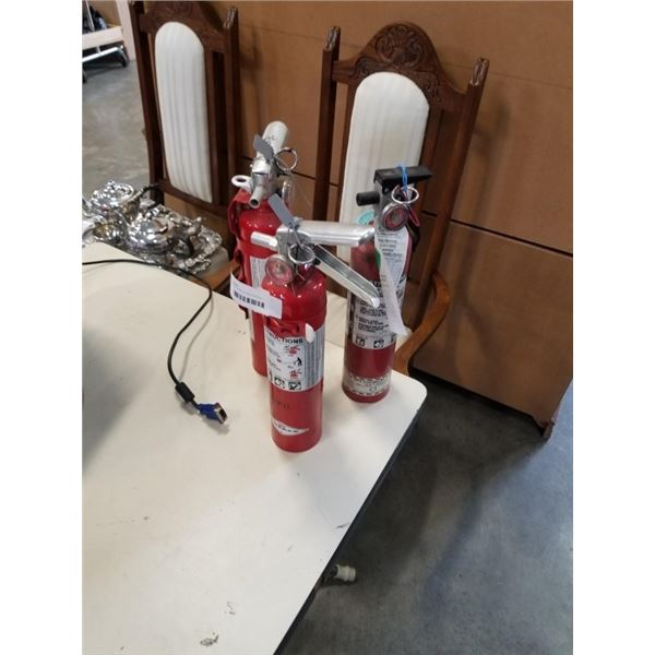 3 CHARGED FIRE EXTINGUISHERS