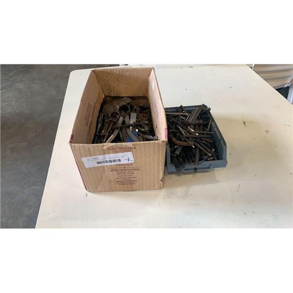 Box of drill bits, measuring tools and hex keys