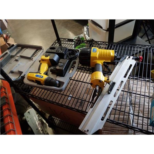 "Power fist 3 1/2"" Framing nailer and cordless drill"