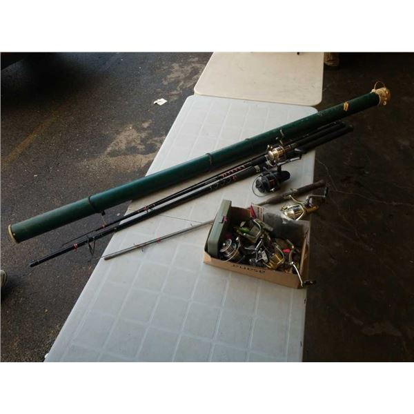 LOT OF FISHING RODS, REELS AND LURES