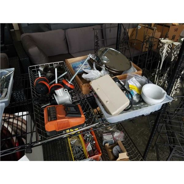 3 trays of Ridgid 18 volt charger, heavy duty legs, makeup mirror and more