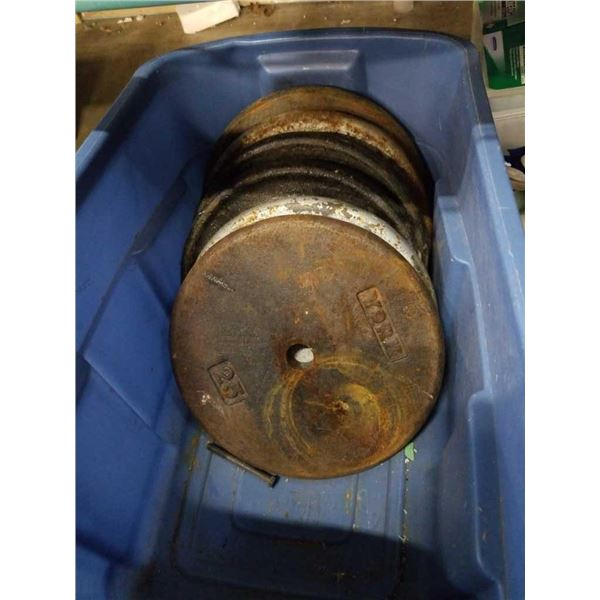 Approximately 150 lb of steel plate weights