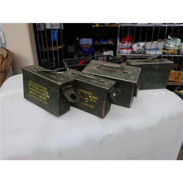 4 Military metal ammo boxes