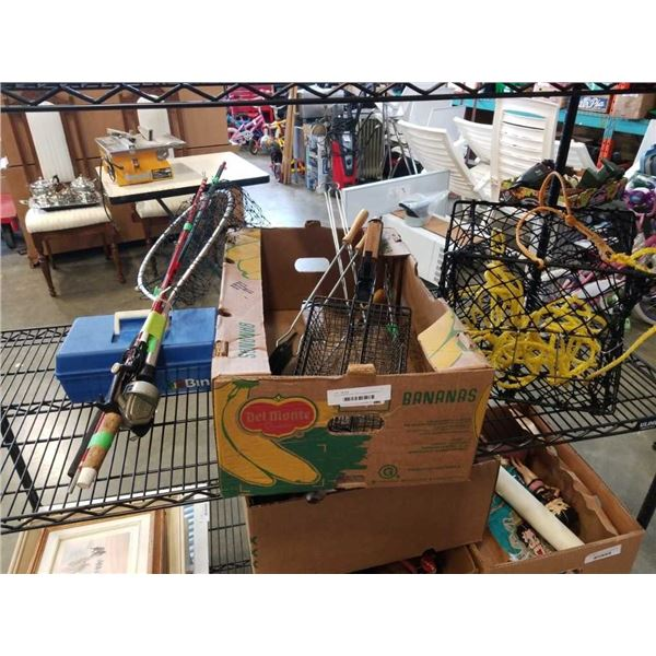 Box of camping tools, with fishing equipment and crab trap
