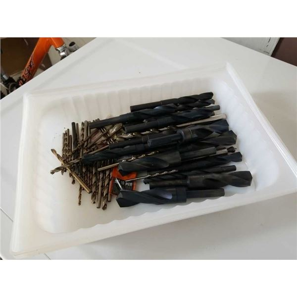 Tray of new various-sized drill bits