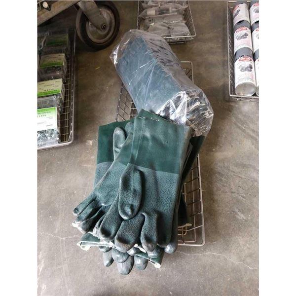 Tray of new PVC gloves