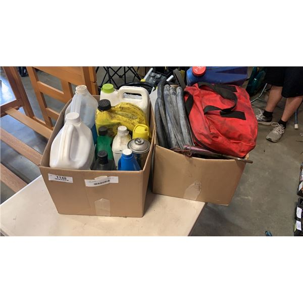 2 BOXES HOSES, FIRST AID KIT, DIESEL OIL, VEHICLE FLUIDS