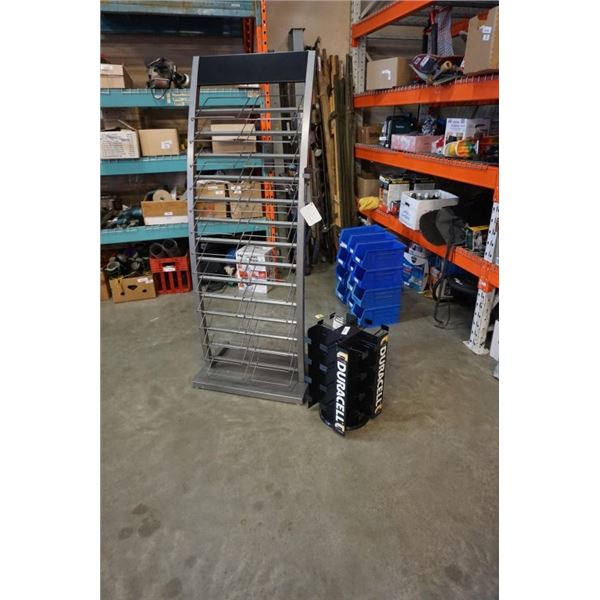 6ft metal retail display rack and duracell spinning retail rack