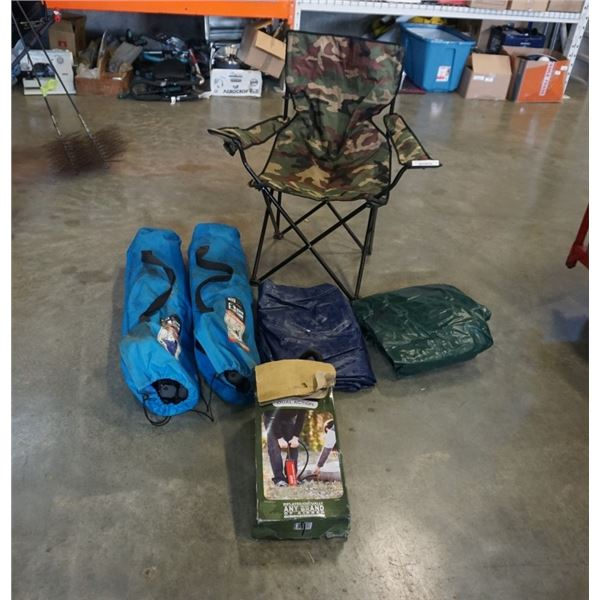 LOT OF CAMP CHAIRS, AIR MATTRESSES AND PUMP
