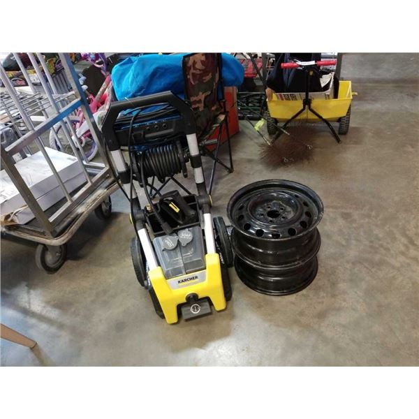 """Karcher electric pressure washer - store return and 2 steel wheel rims 15"""""""