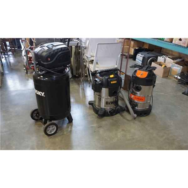2 shop vacs and air compressor - as is